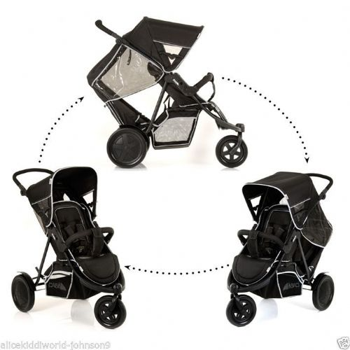 Hauck BLACK FreeRider tandem Double twin pushchair pram buggy 3wheeler+RAINCOVER